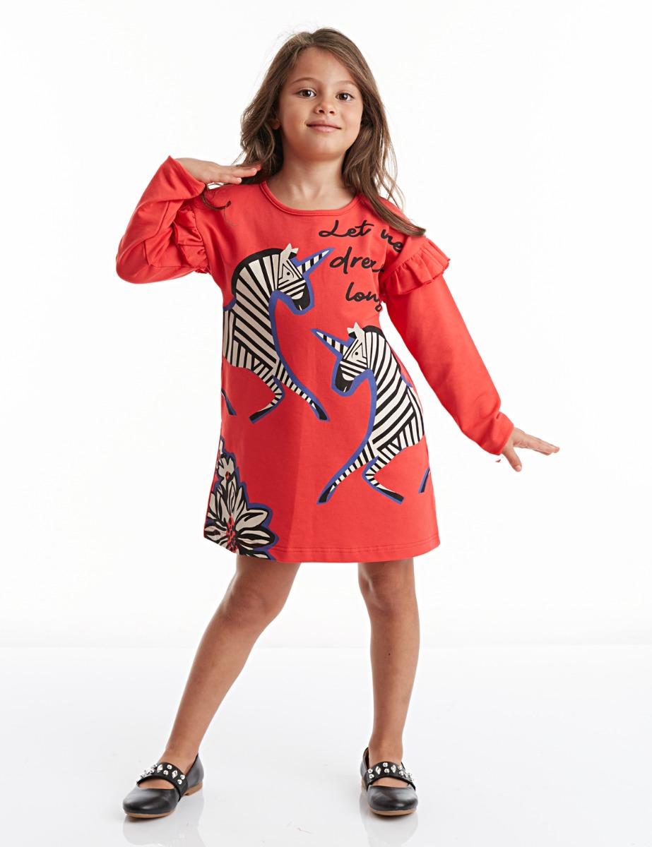 Rochie cu maneca lunga si imprimeu Zebracorn Mushi imagine