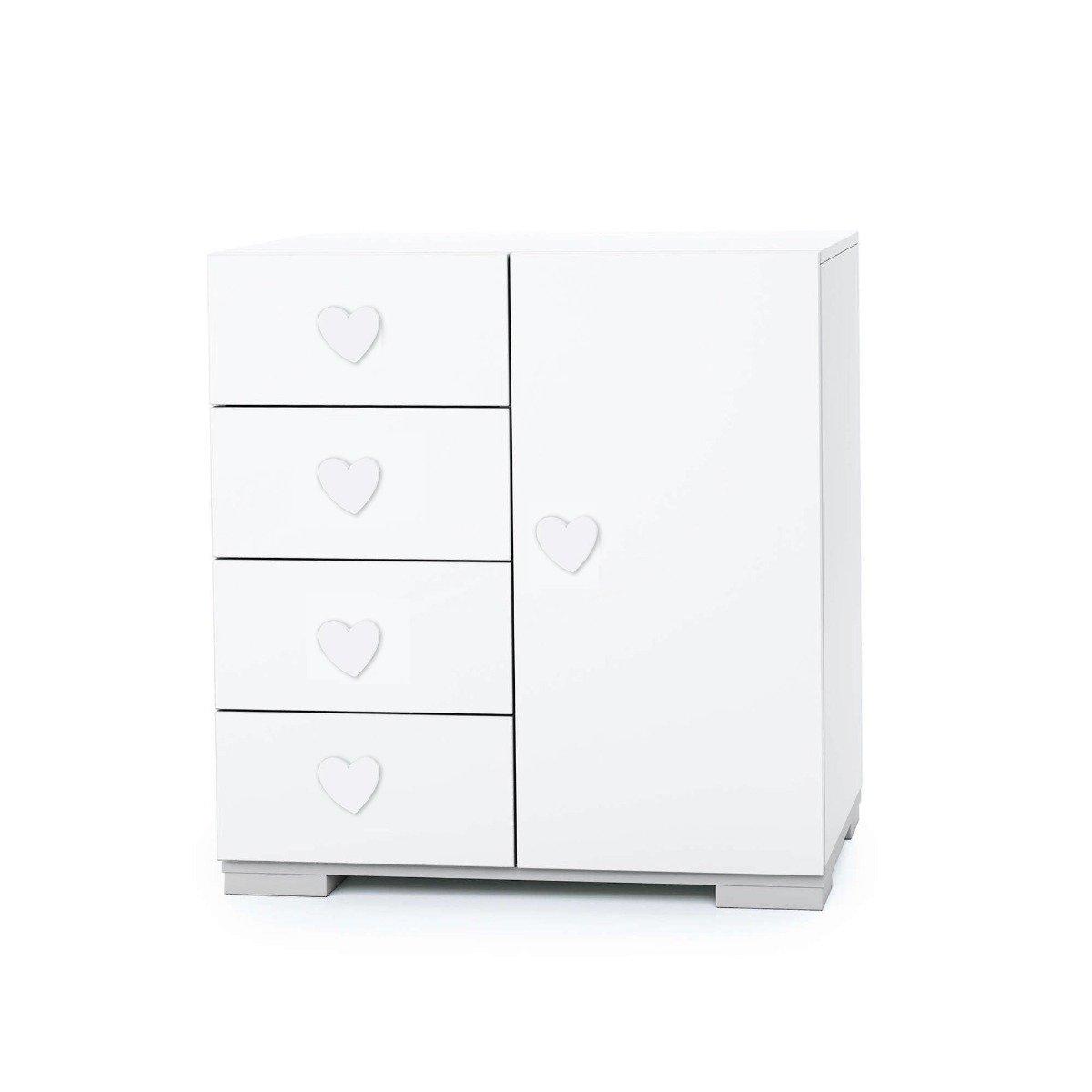 Comoda Mini Home Concept, Alb, Inimoara, 4 sertare + usa imagine