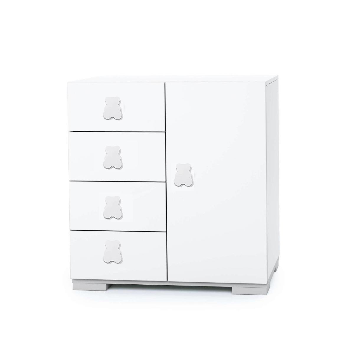 Comoda Mini Home Concept, Alb, 4 sertare + usa imagine
