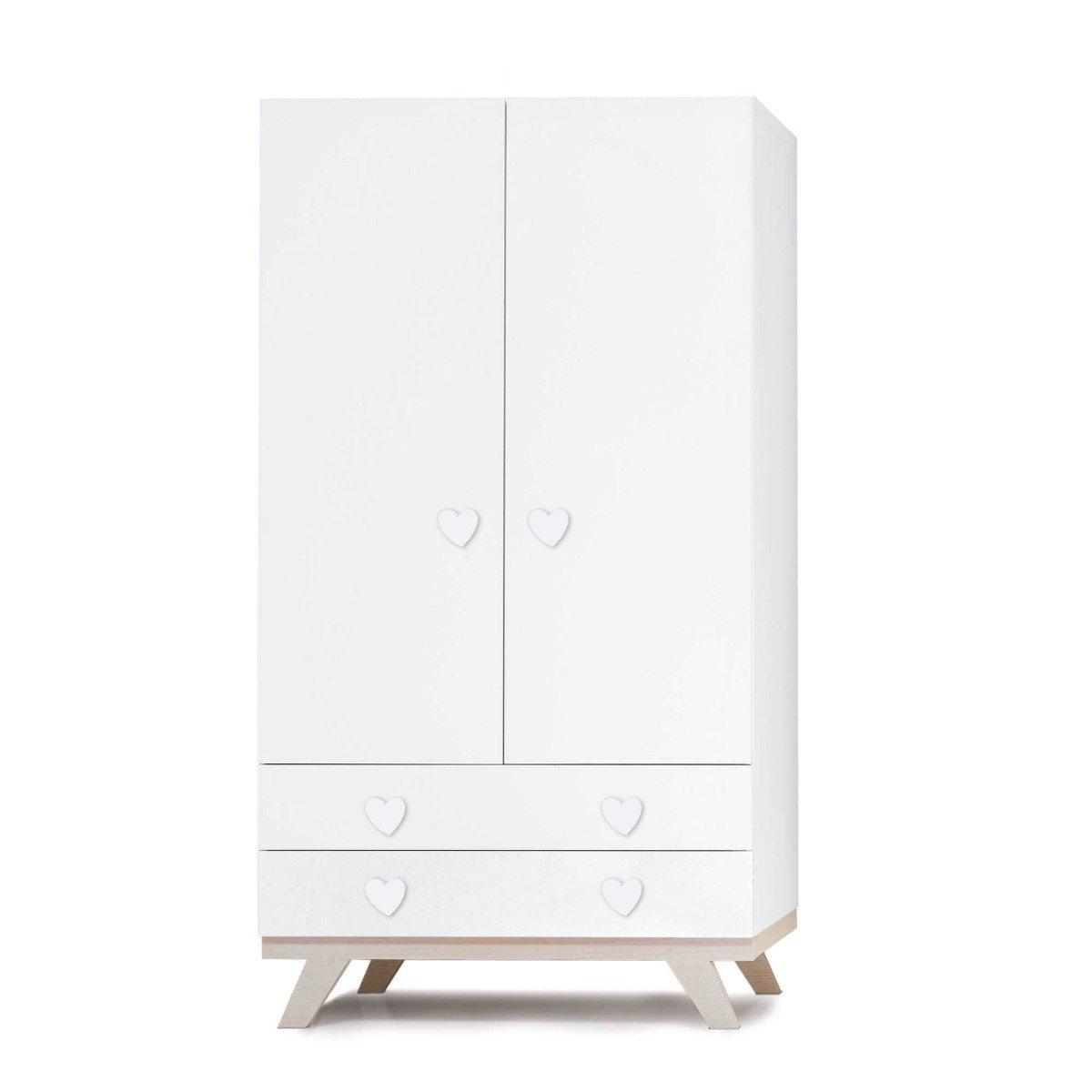 Dulap Home Concept, Alb, Inimioara, 2 sertare + 2 usi imagine