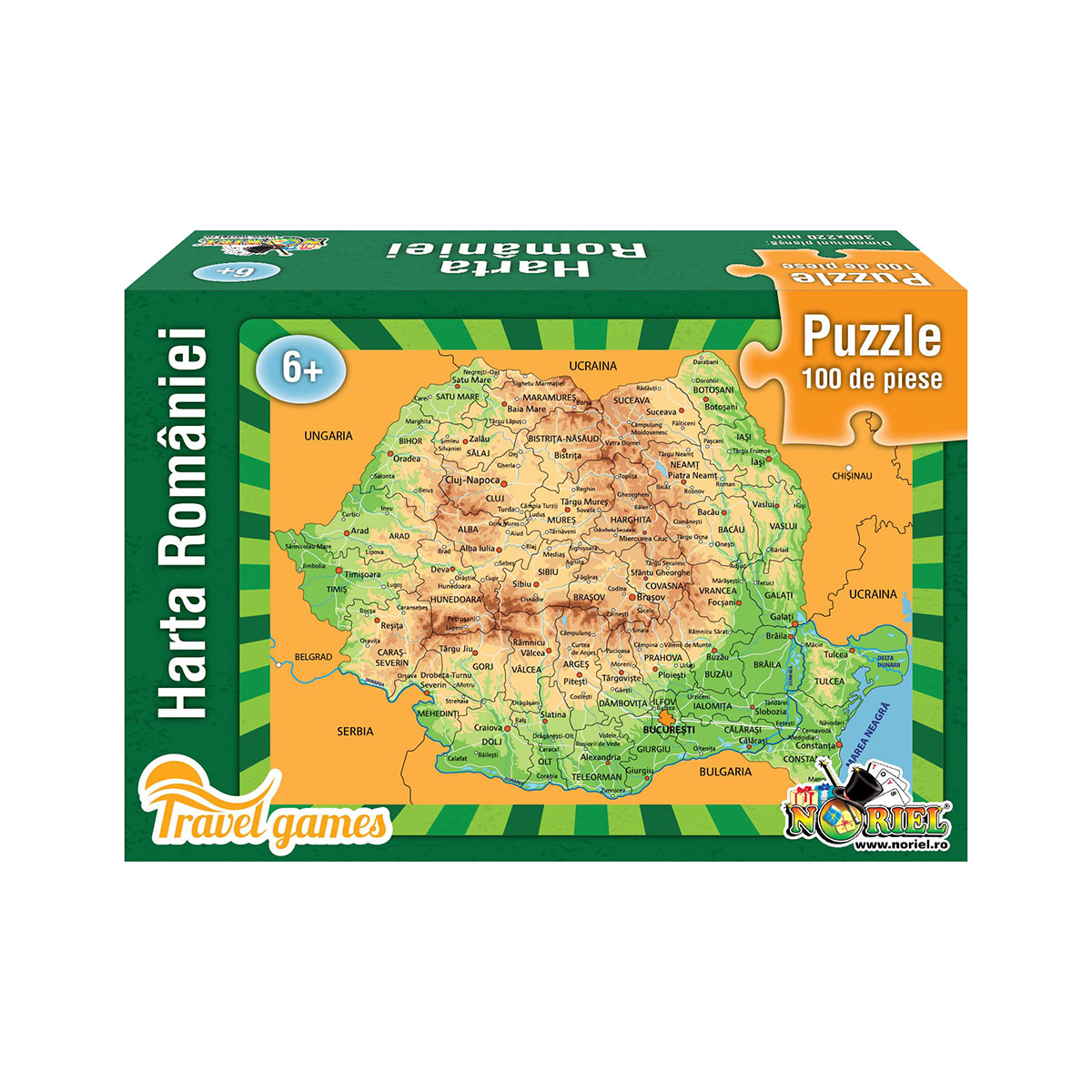 Puzzle educativ Noriel - Harta Romaniei, 100 piese