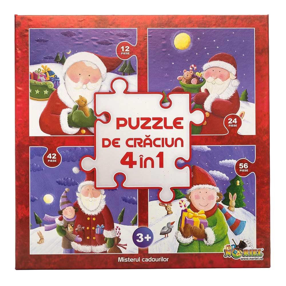 puzzle noriel colectia de craciun 4 in 1 - misterul cadourilor (12, 24, 42, 56 piese)