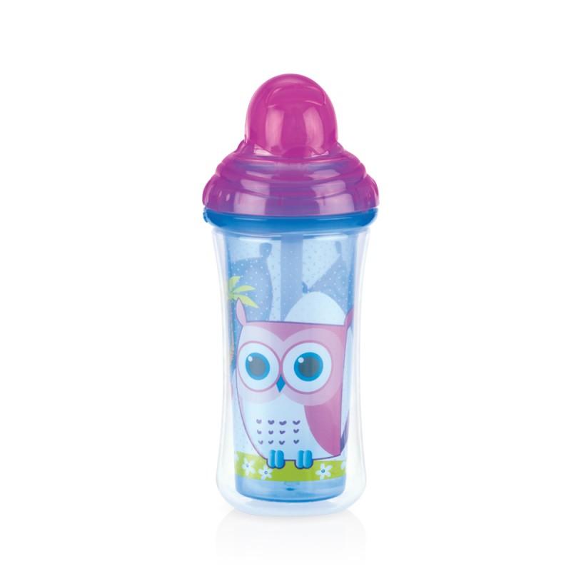 Nuby Pahar cu pai izoterm Vari-Floflip-it Click Lock 270 ml, Albastru