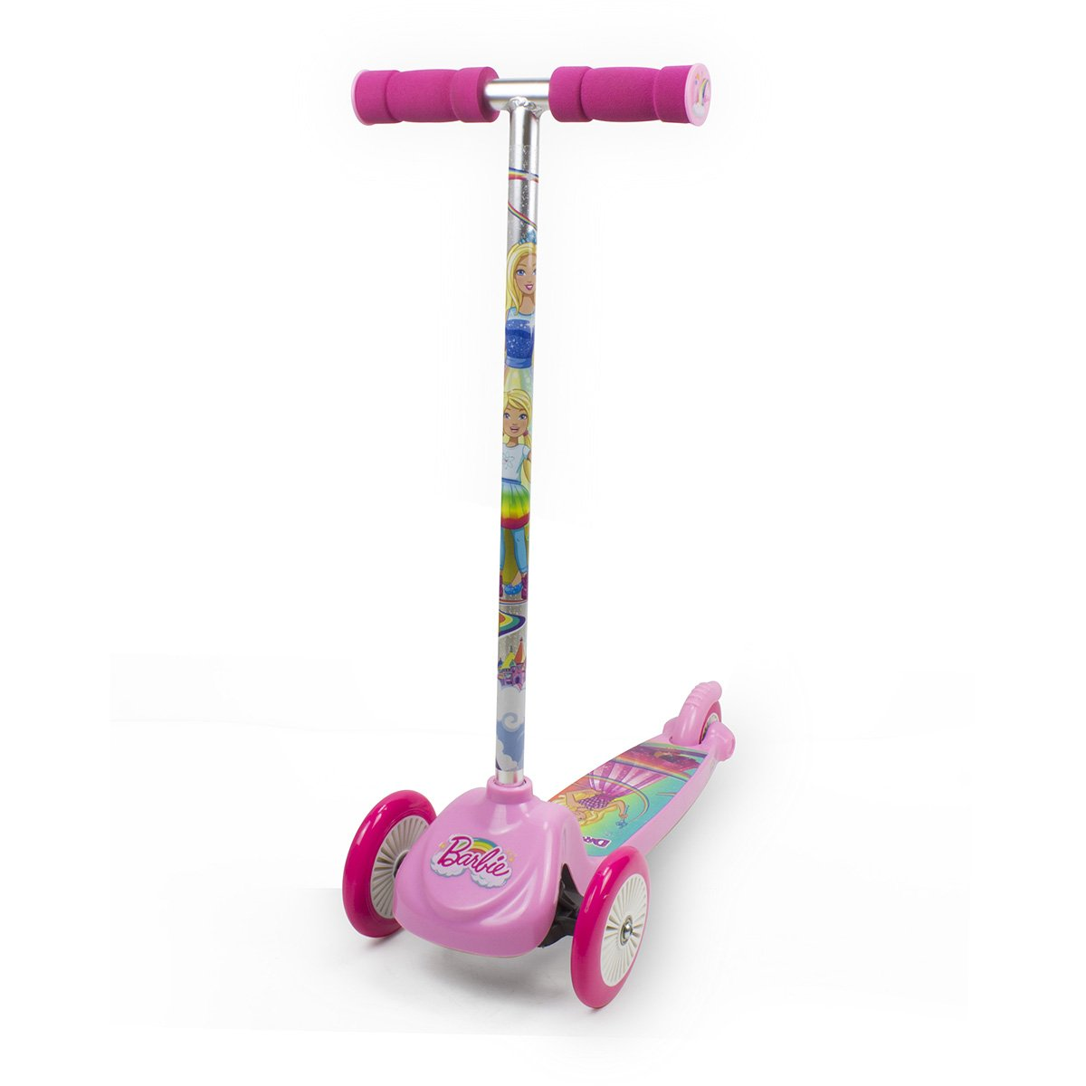 Trotineta cu 3 roti si ghidon flexibil Barbie Dreamtopia, Roz imagine