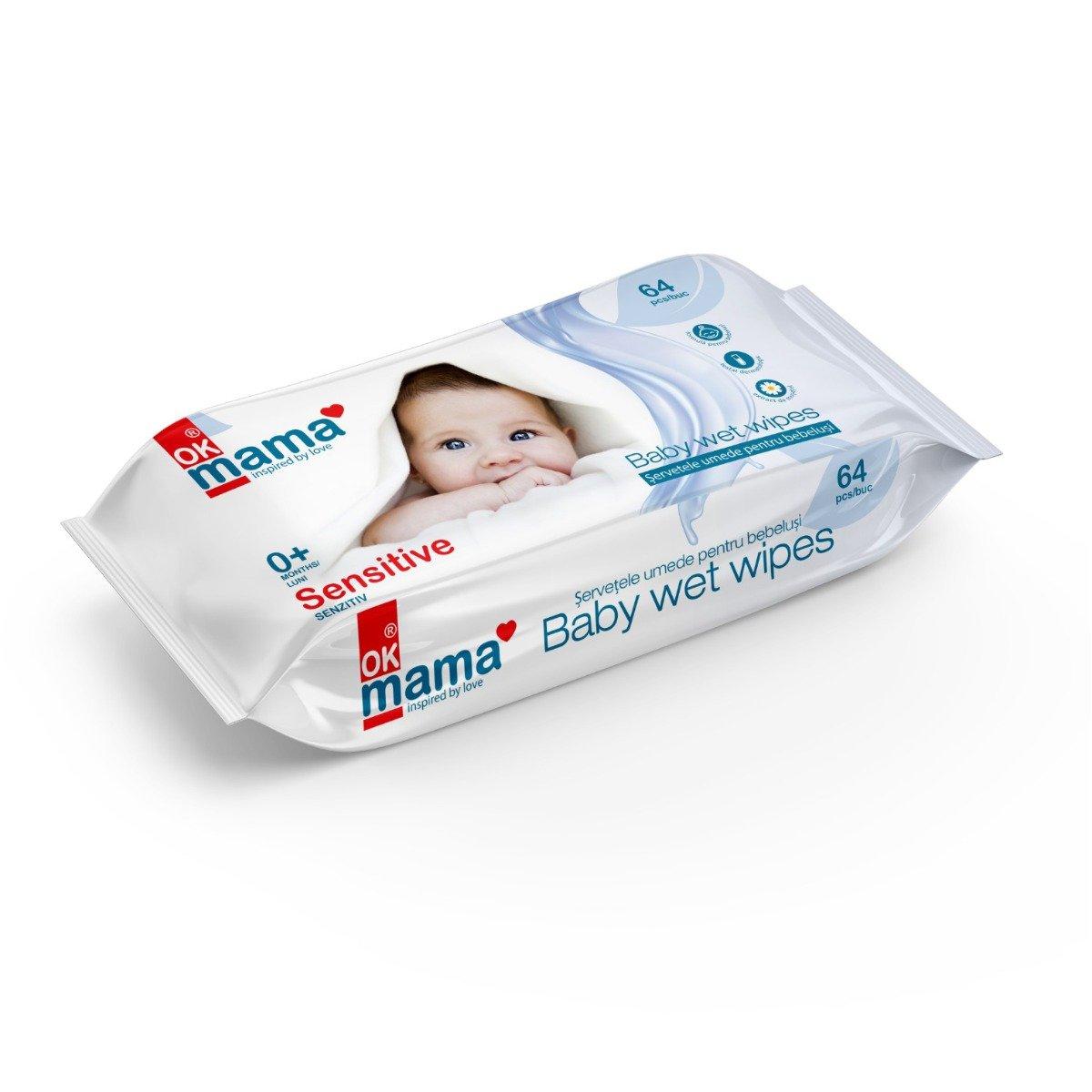 Servetele umede pentru bebelusi Ok Mama, 64 buc imagine