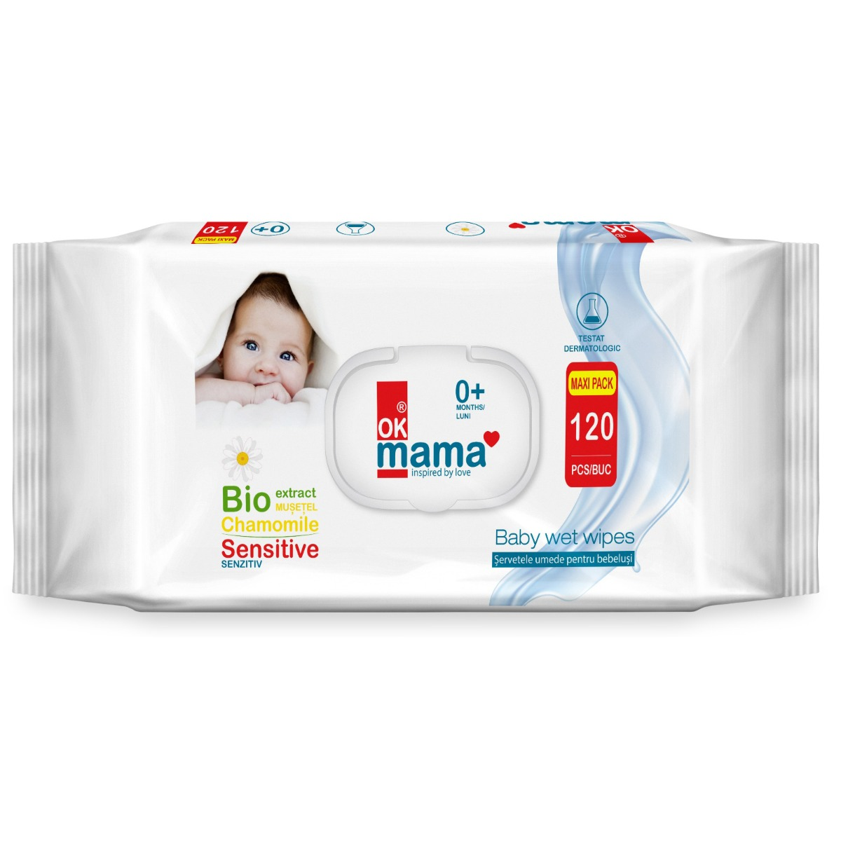 Servetele umede pentru bebelusi Ok Mama, 120 buc imagine