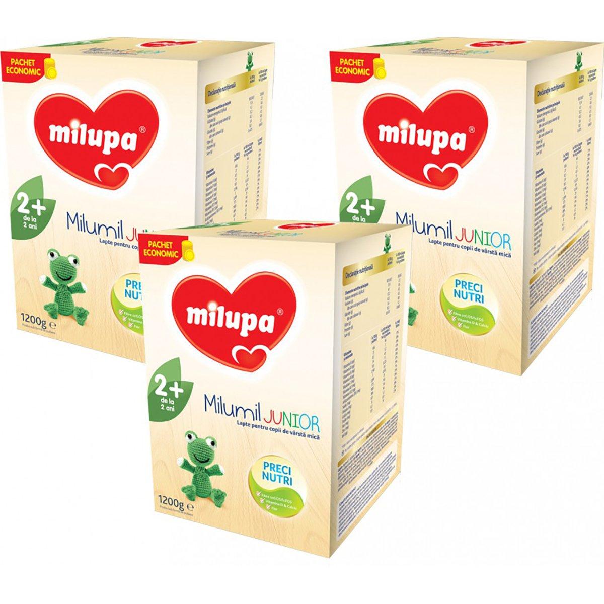 Lapte praf Milupa Milumil Junior 2+, 3 pachete x 1200 g