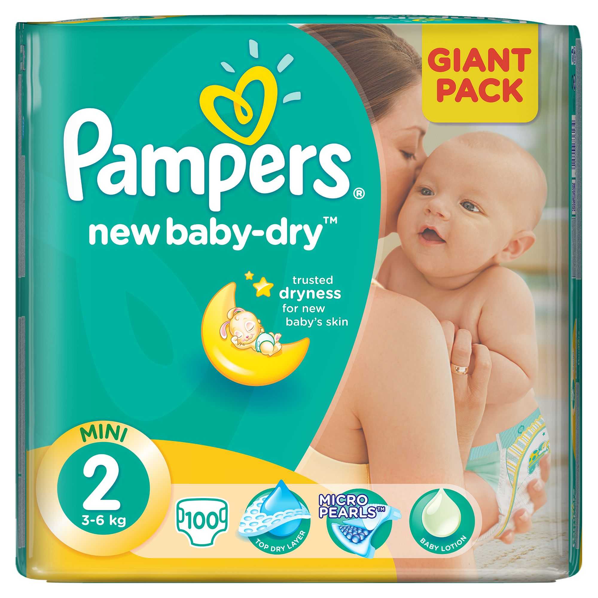 scutece pampers new baby-dry 2 mini, 100 buc, 3 - 6 kg