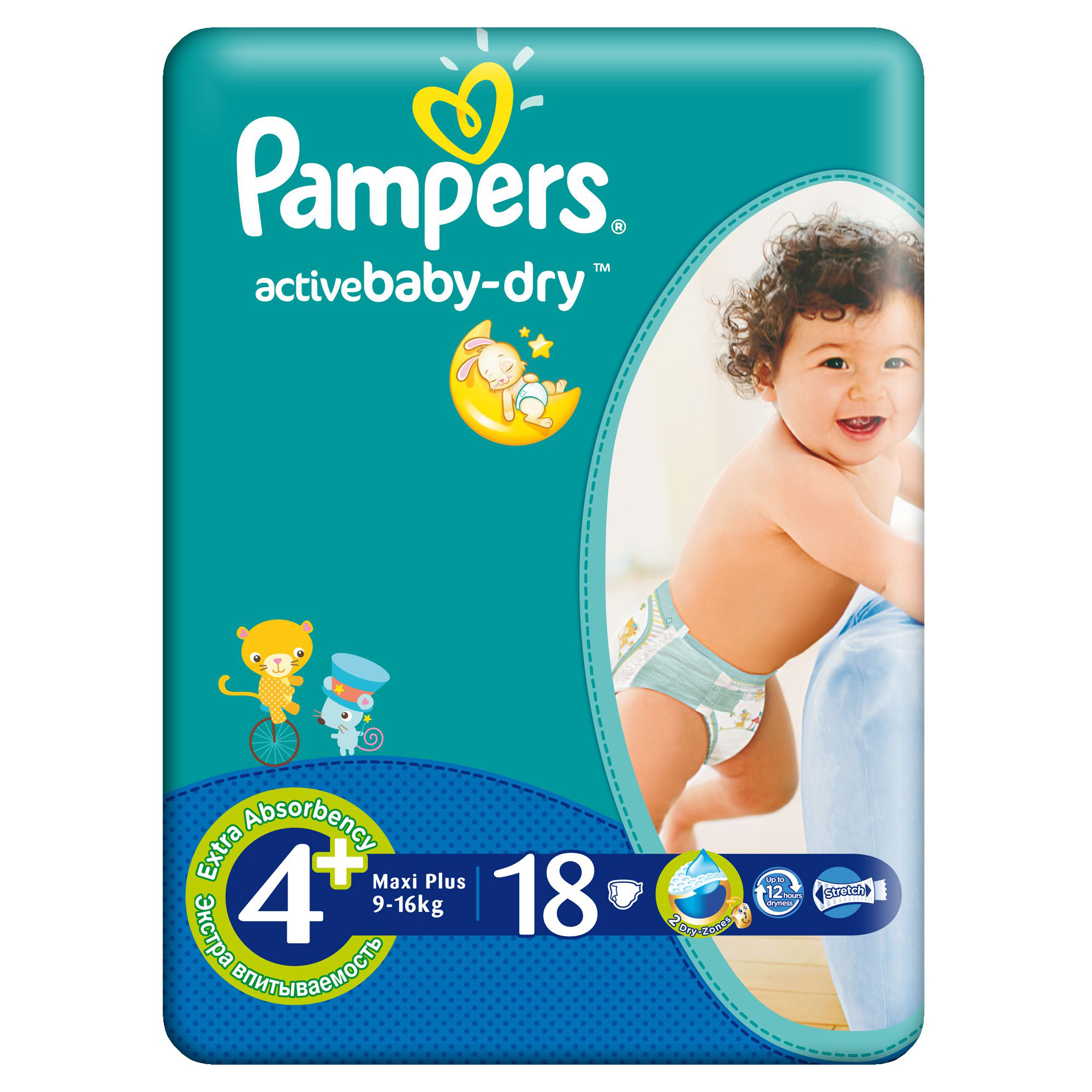 scutece pampers active baby-dry 4+ maxi plus, 18 buc, 9 - 16 kg