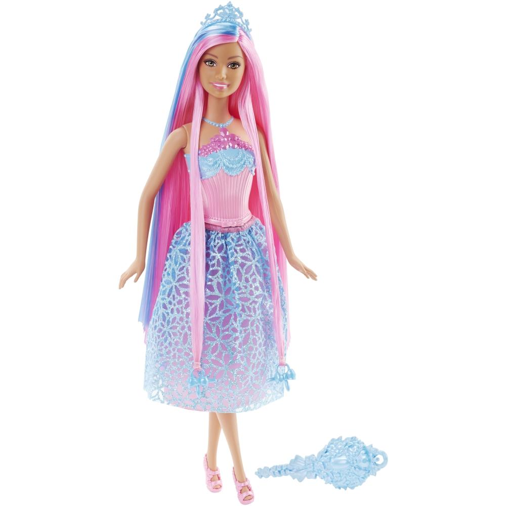 papusa barbie cu par roz - regatul parului fara sfarsit