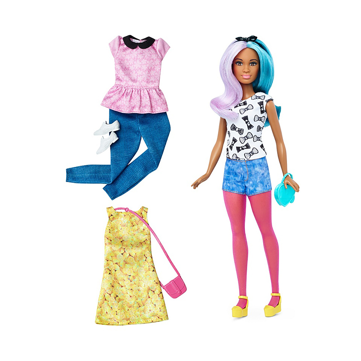 papusa barbie fashionistas - blue violet