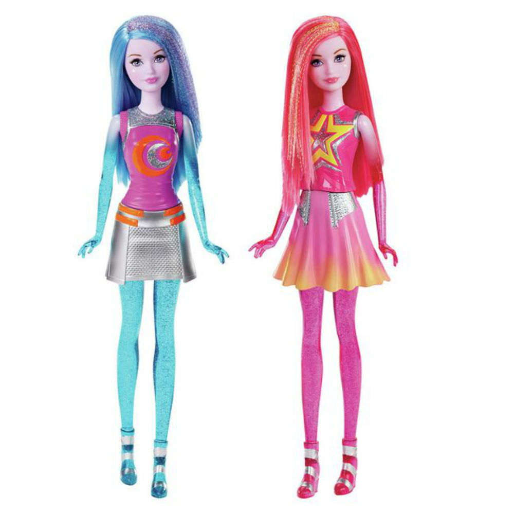papusa barbie star light adventure - pink and blue galaxy