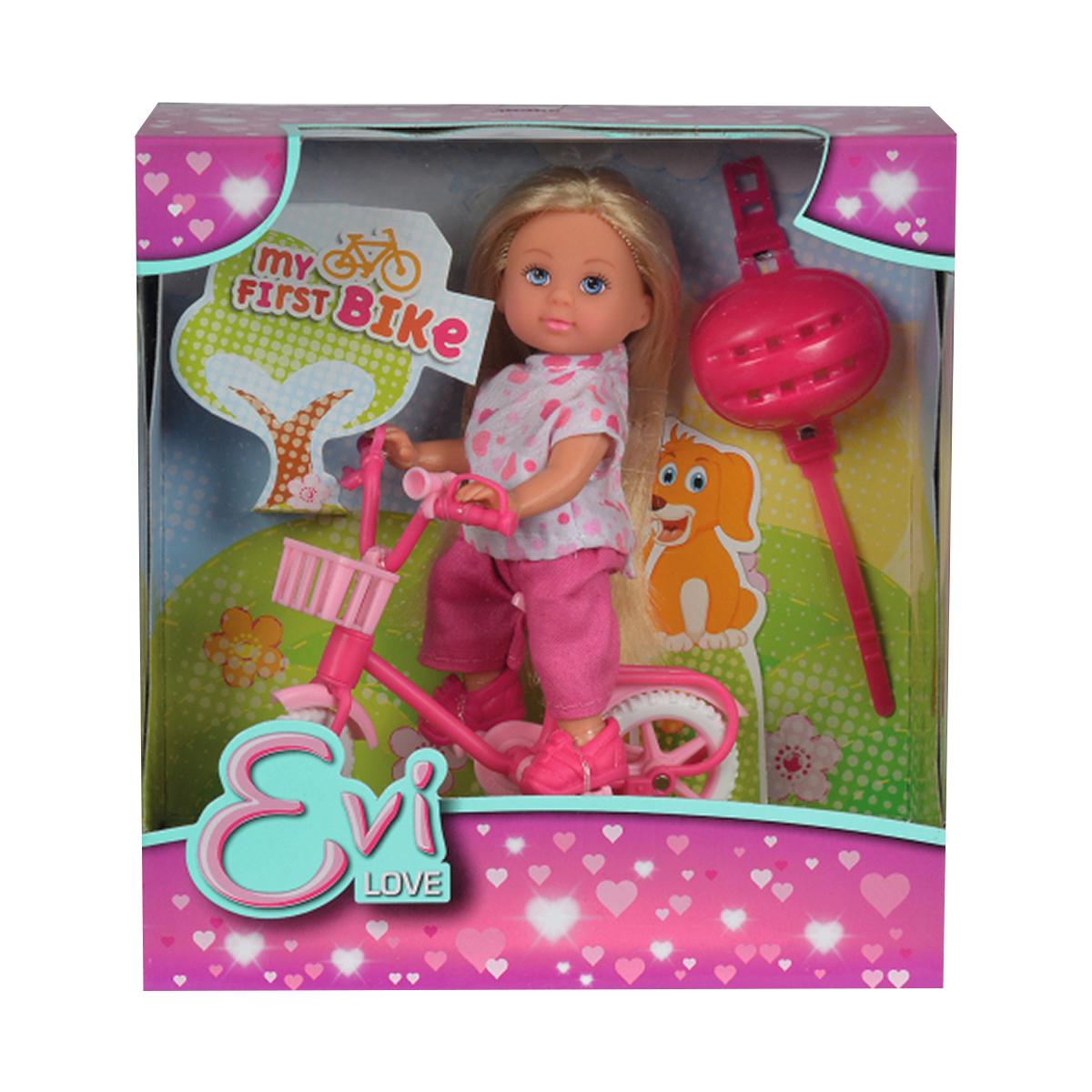 papusa evi love cu bicicleta si casca rosie