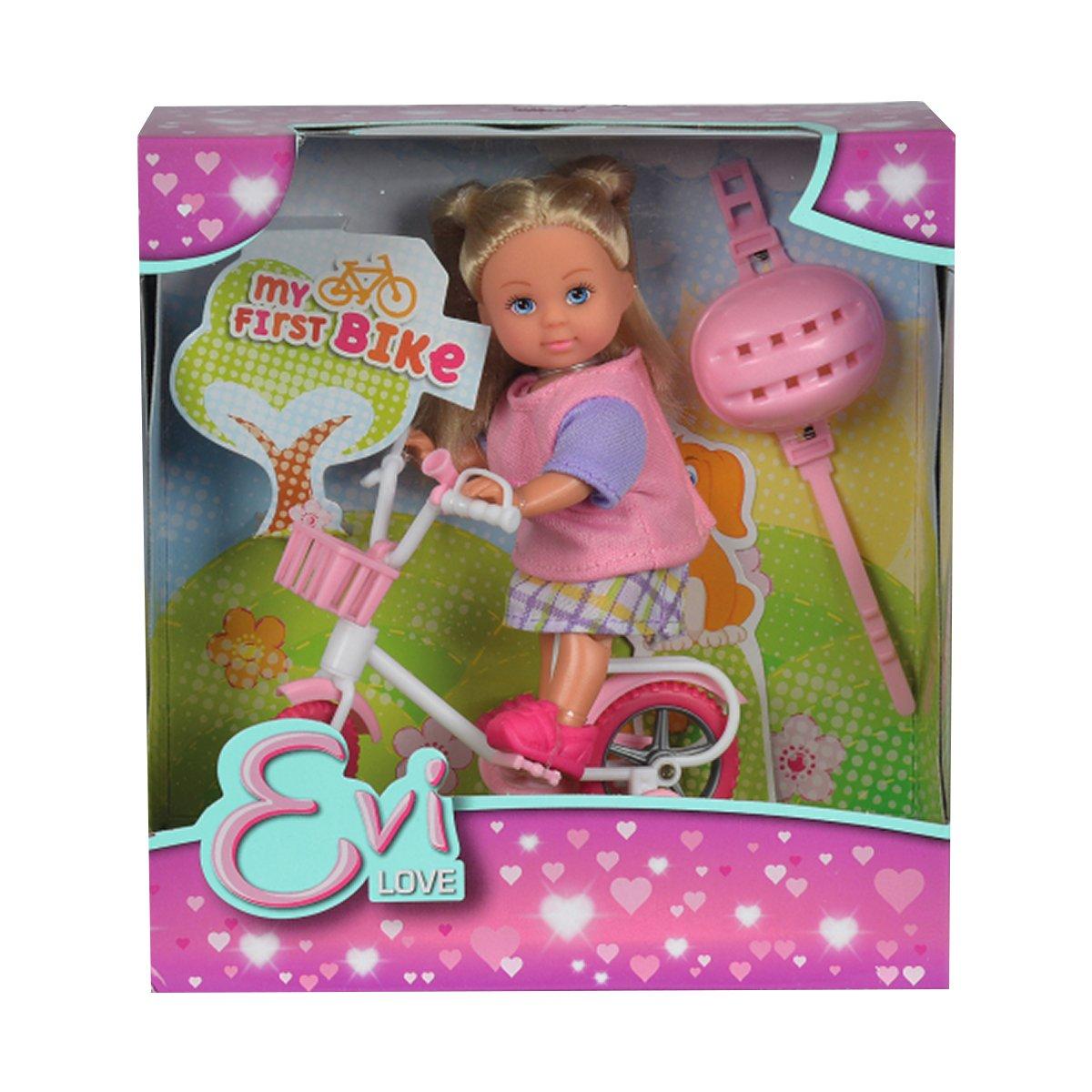 Papusa Evi Love cu bicicleta si casca roz