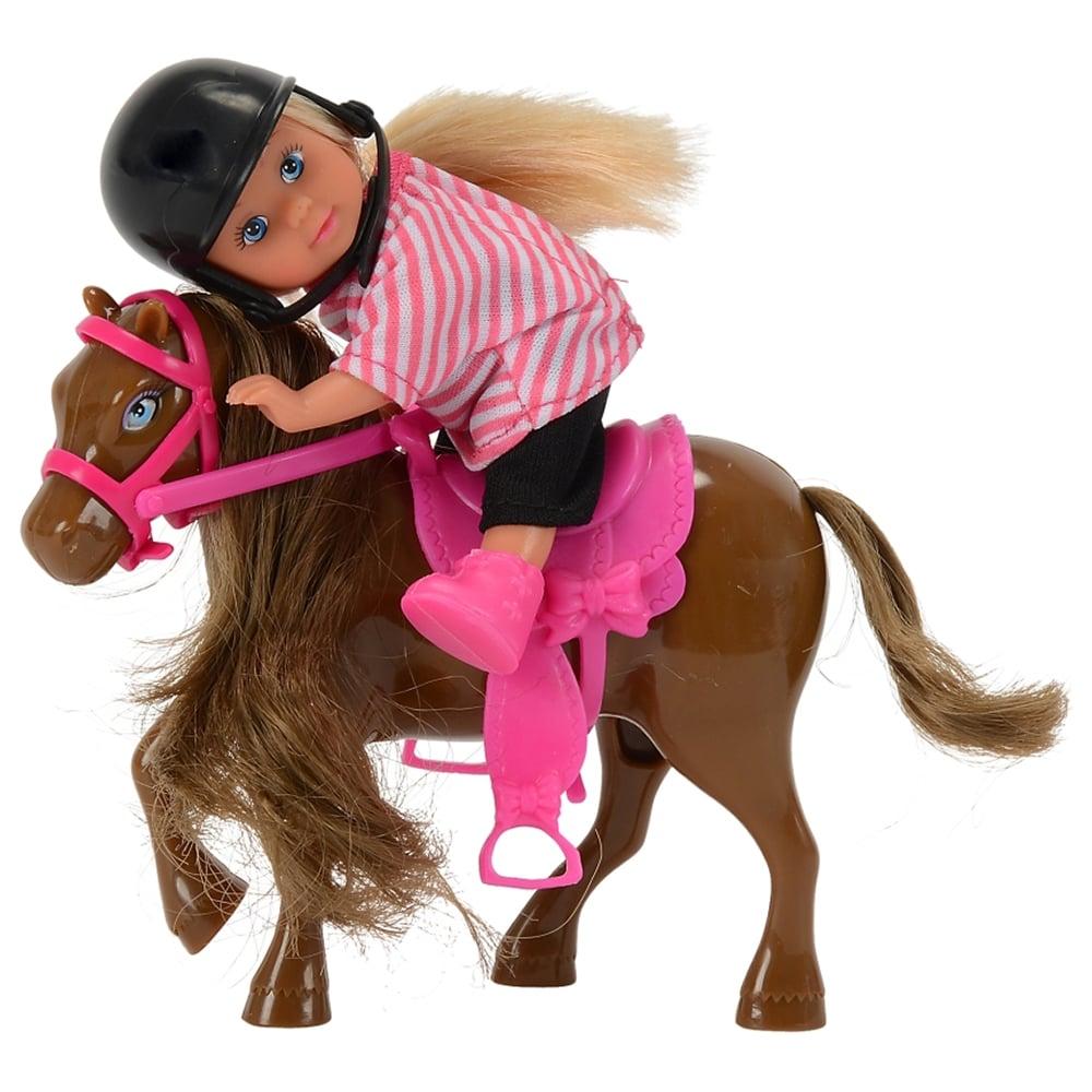 Papusa Evi Love cu ponei si casca neagra