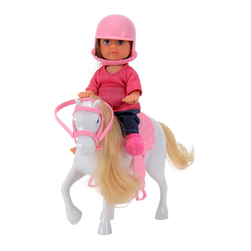 papusa evi love cu ponei si casca roz
