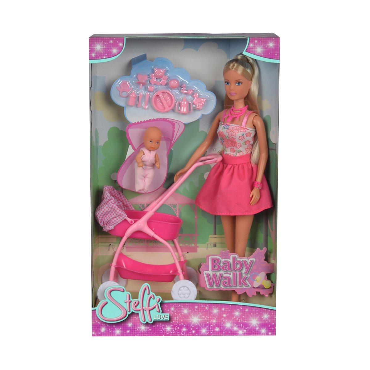 Papusa Steffi Love cu bebe in carucior roz