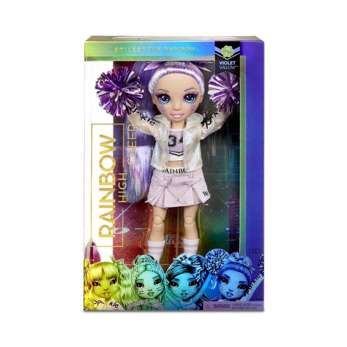 Papusa Majoreta Rainbow High, Violet Willow, 572084EUC