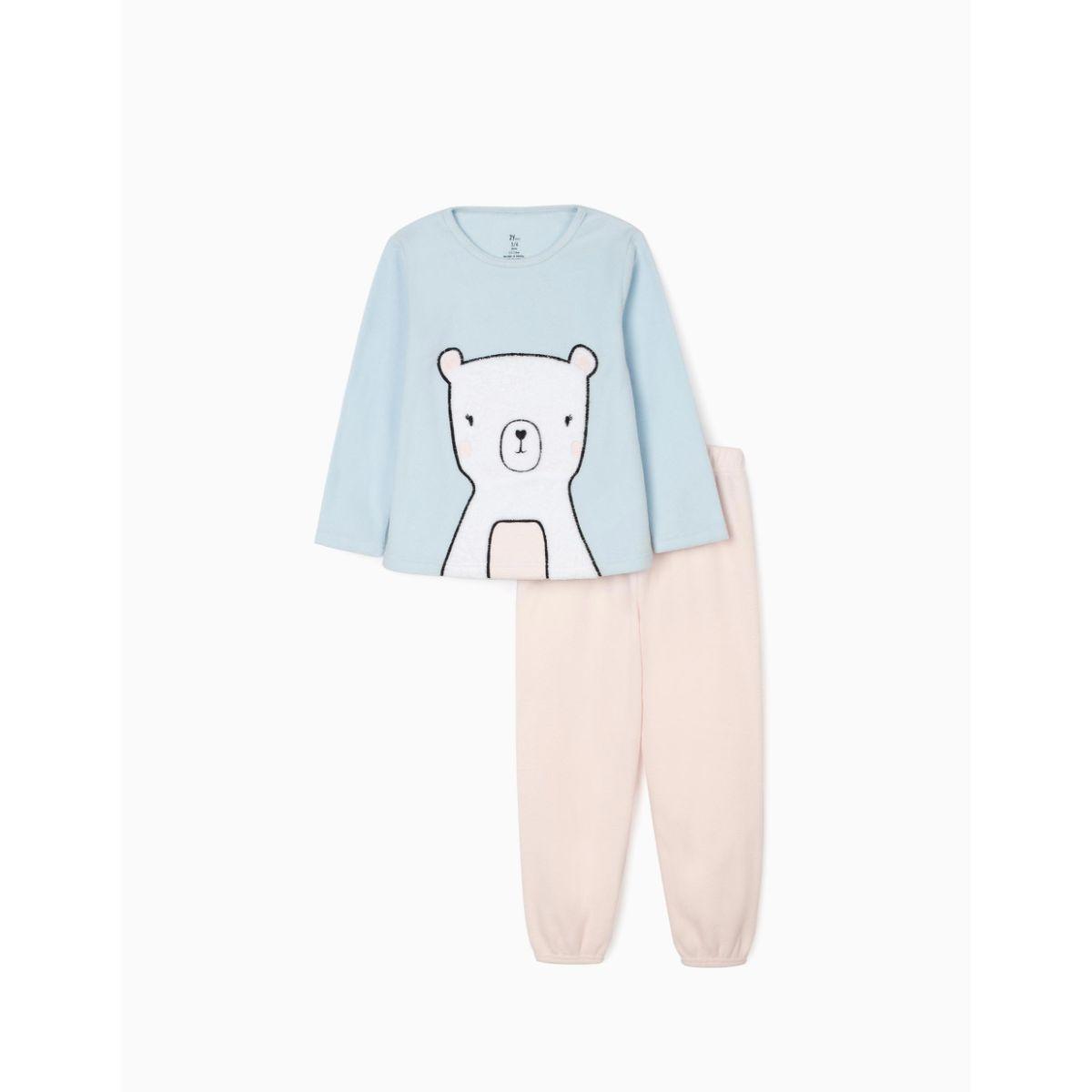 Pijama cu maneca lunga, Zippy, Zy Girl, model cu ursulet