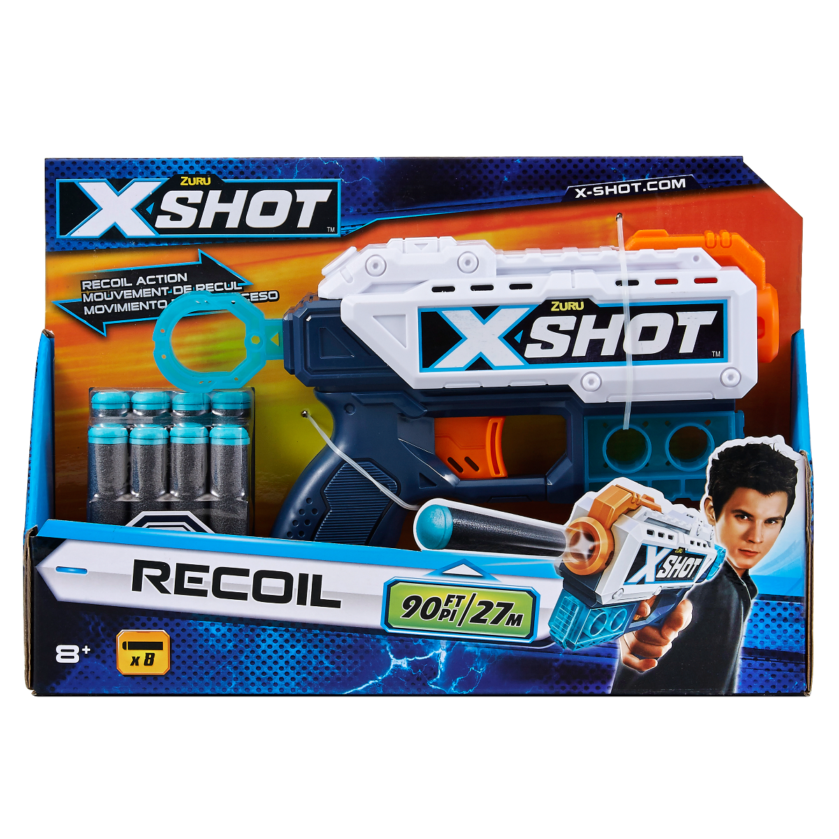 Blaster X-Shot Excel Kickback cu 8 gloante de spuma