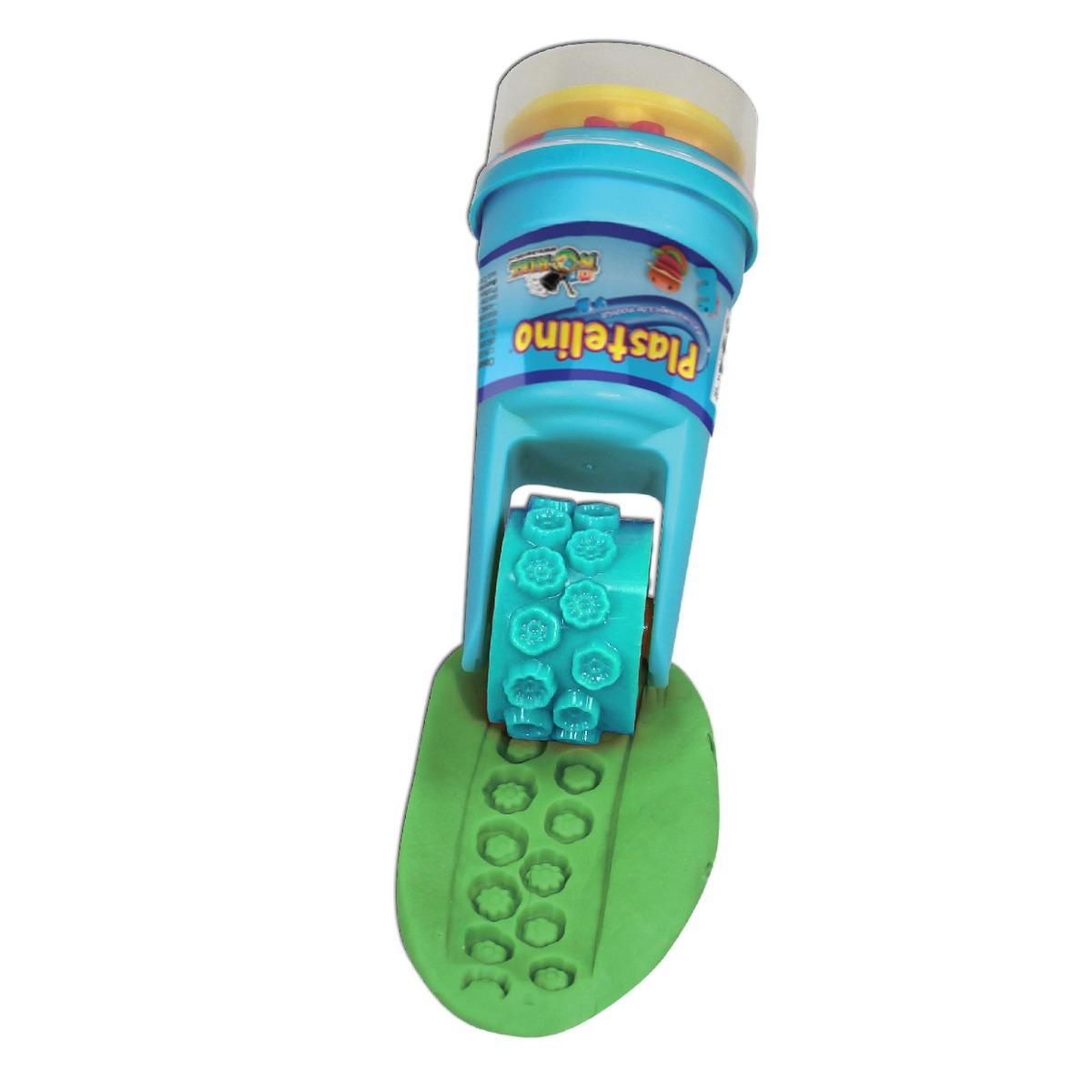 Plastelino - Tub rola cu stampila si plastilina - Albastru imagine