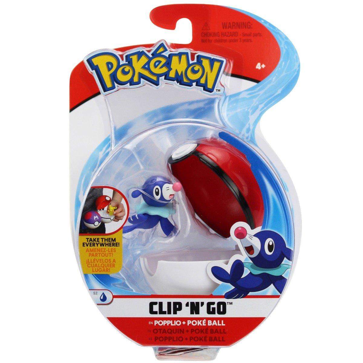 Figurina in bila Clip N Go Pokemon S2 - Popplio, Poke Ball (95064)