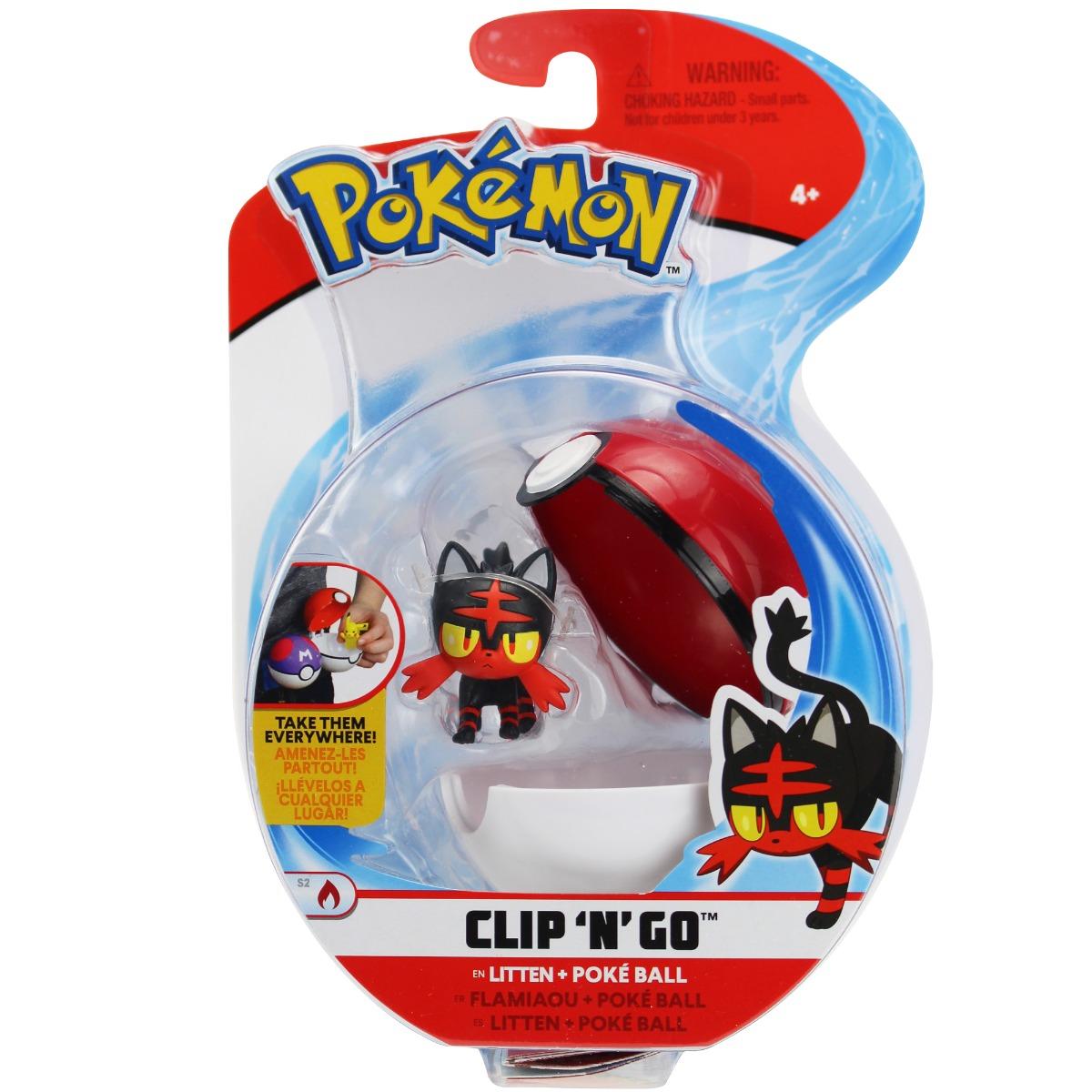 Figurina in bila Clip N Go Pokemon S2 - Litten, Poke Ball (95065)