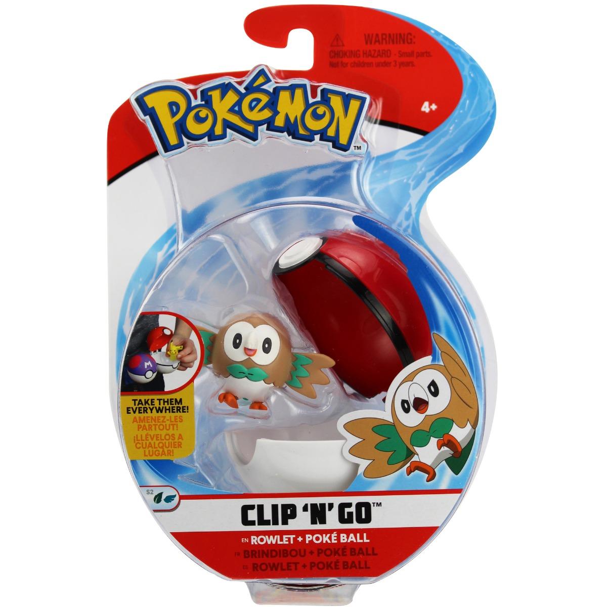 Figurina in bila Clip N Go Pokemon S2 - Rowlet, Poke Ball (95066)