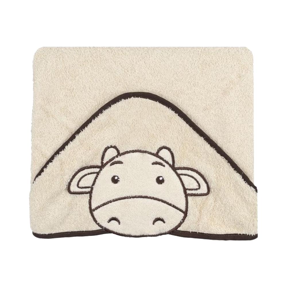 Prosop cu gluga Babyono Funny Bath 76x76 cm - Crem