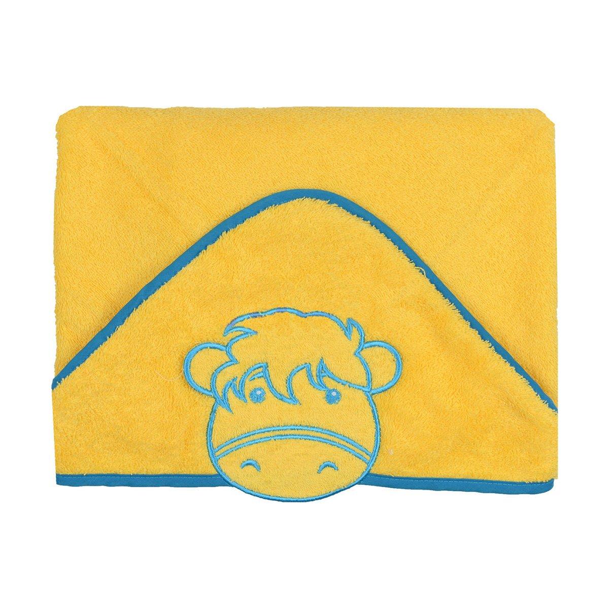 Prosop cu gluga Babyono Funny Bath 76x76 cm - Galben