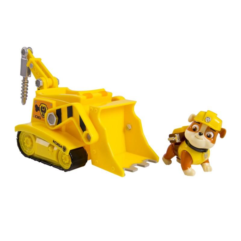 Figurina si autovehicul Paw Patrol, Rubble cu buldozer