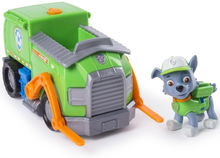 Figurina si autovehicul Paw Patrol, Rocky si camionul de reciclare