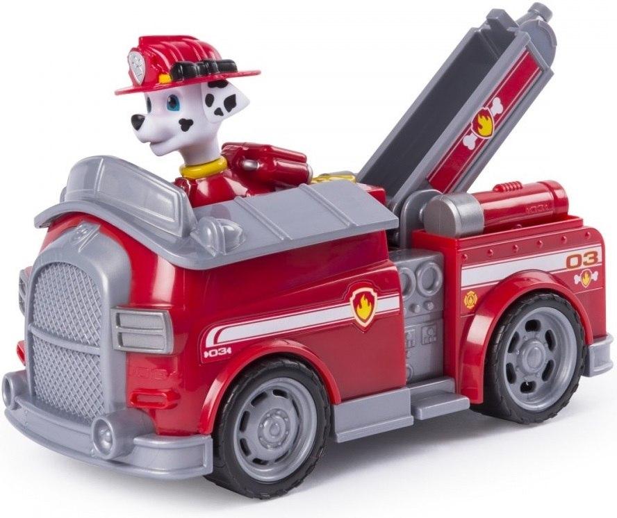 Figurina si autovehicul Paw Patrol, Marshall cu masina de pompieri