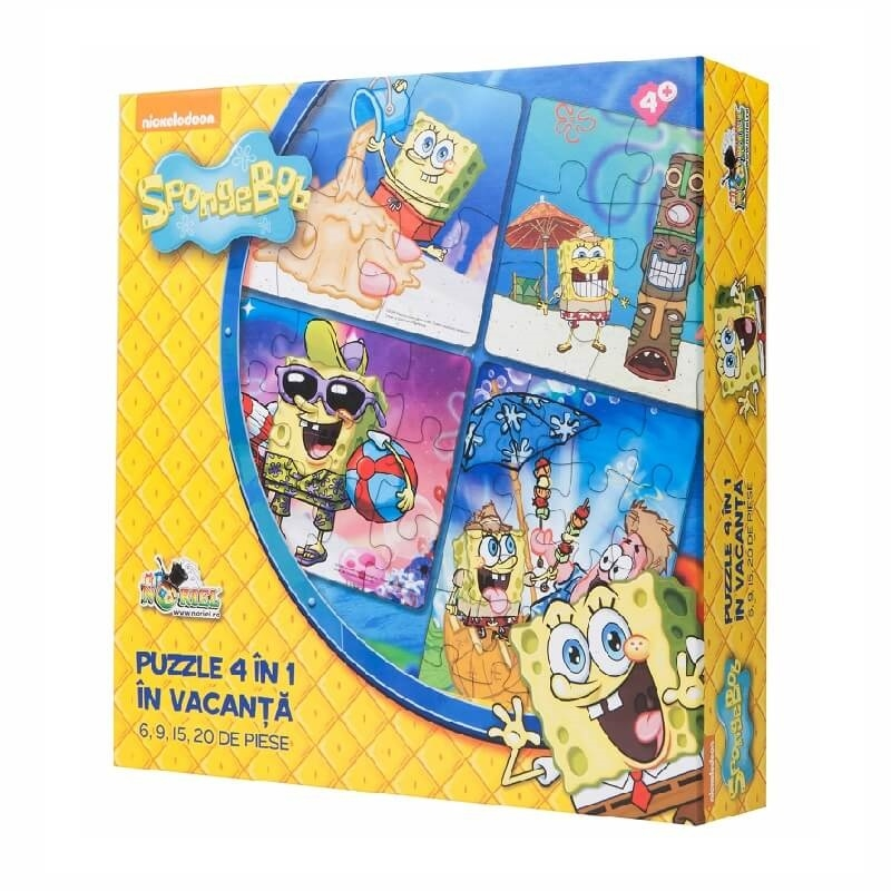 puzzle 4 in 1 spongebob in vacanta (6, 9, 15, 20 piese)