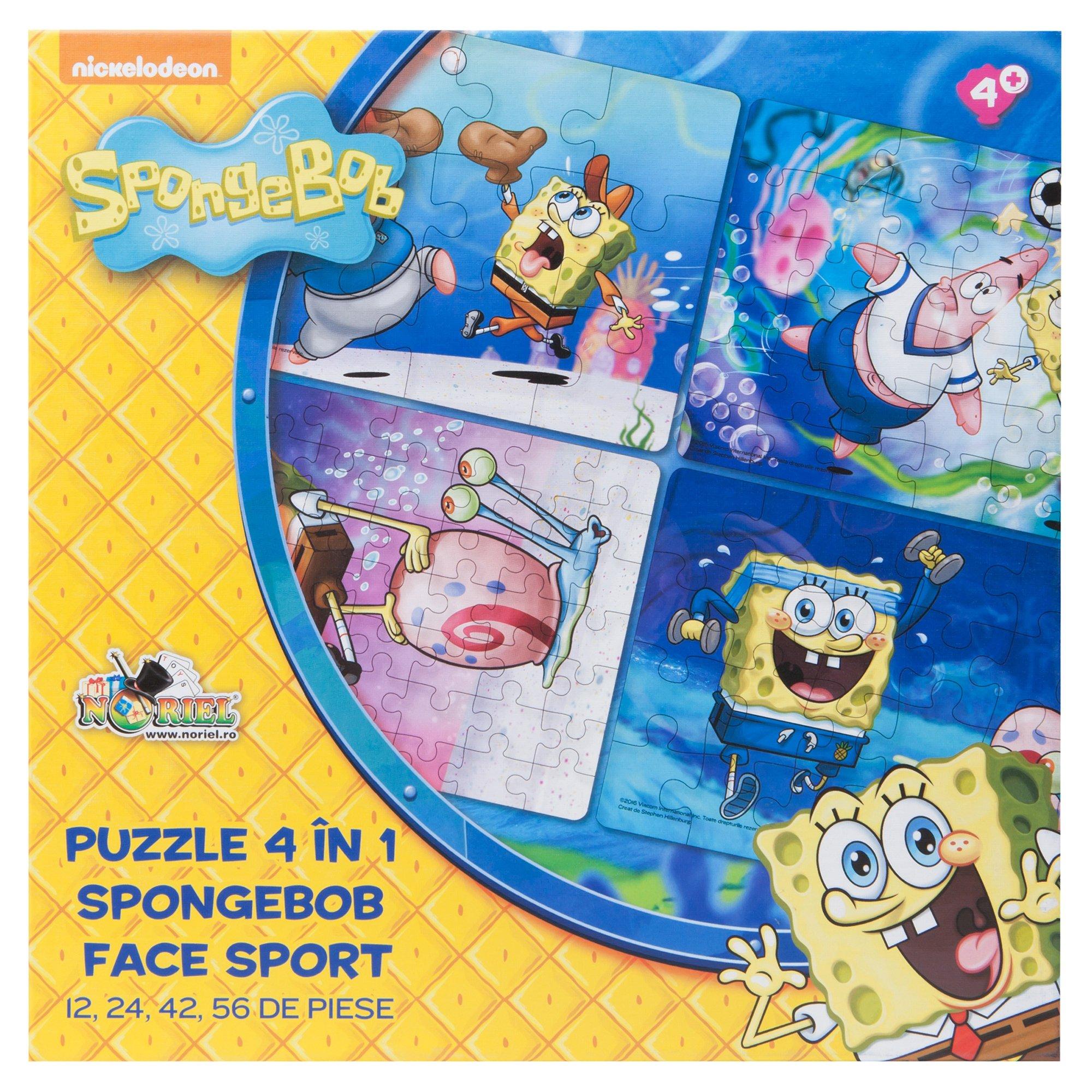 puzzle 4 in 1 spongebob - spongebob face sport (12, 24, 42, 56 piese)