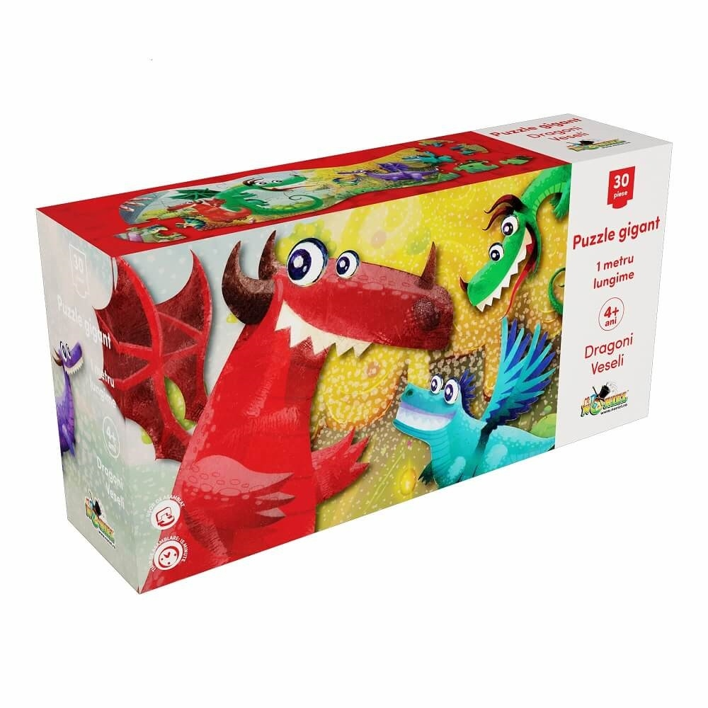 puzzle gigant noriel - dragoni veseli, 30 piese
