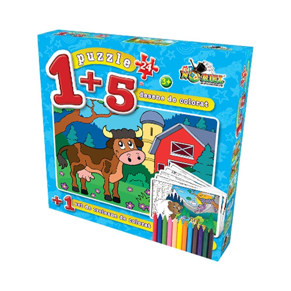 puzzle noriel coloreaza-ma - vacuta (24 piese) + 5 planse de colorat