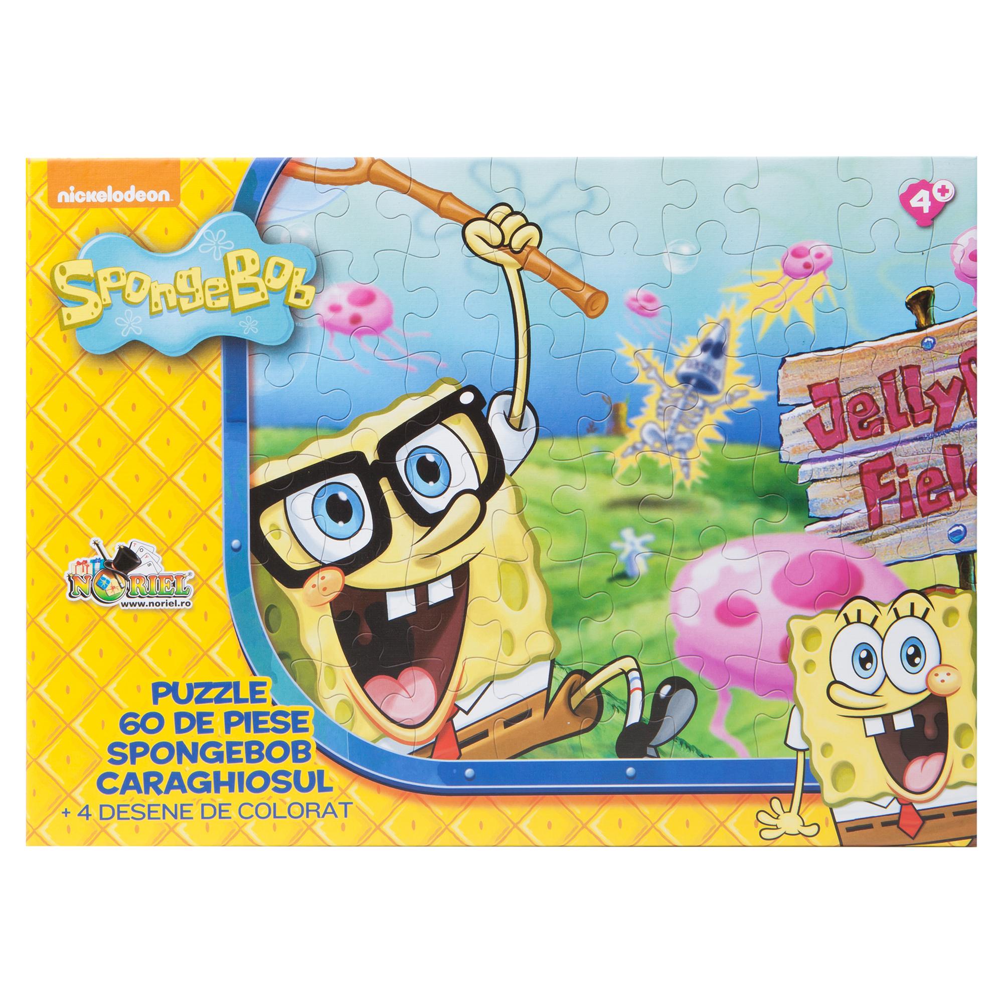 puzzle spongebob - spongebob caraghiosul (60 piese) + 4 planse de colorat