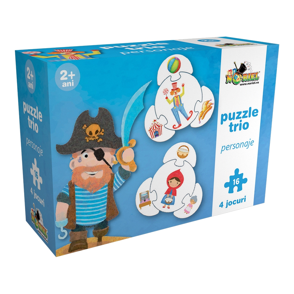 puzzle trio circular noriel - personaje, 16 piese