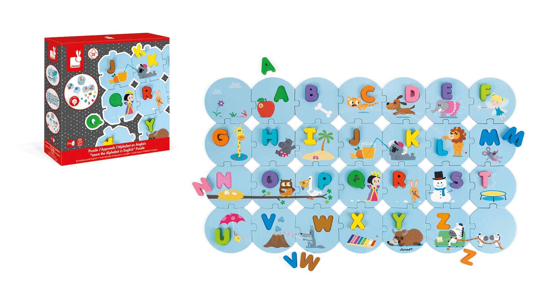 Puzzle din lemn Janod - Invata alfabetul