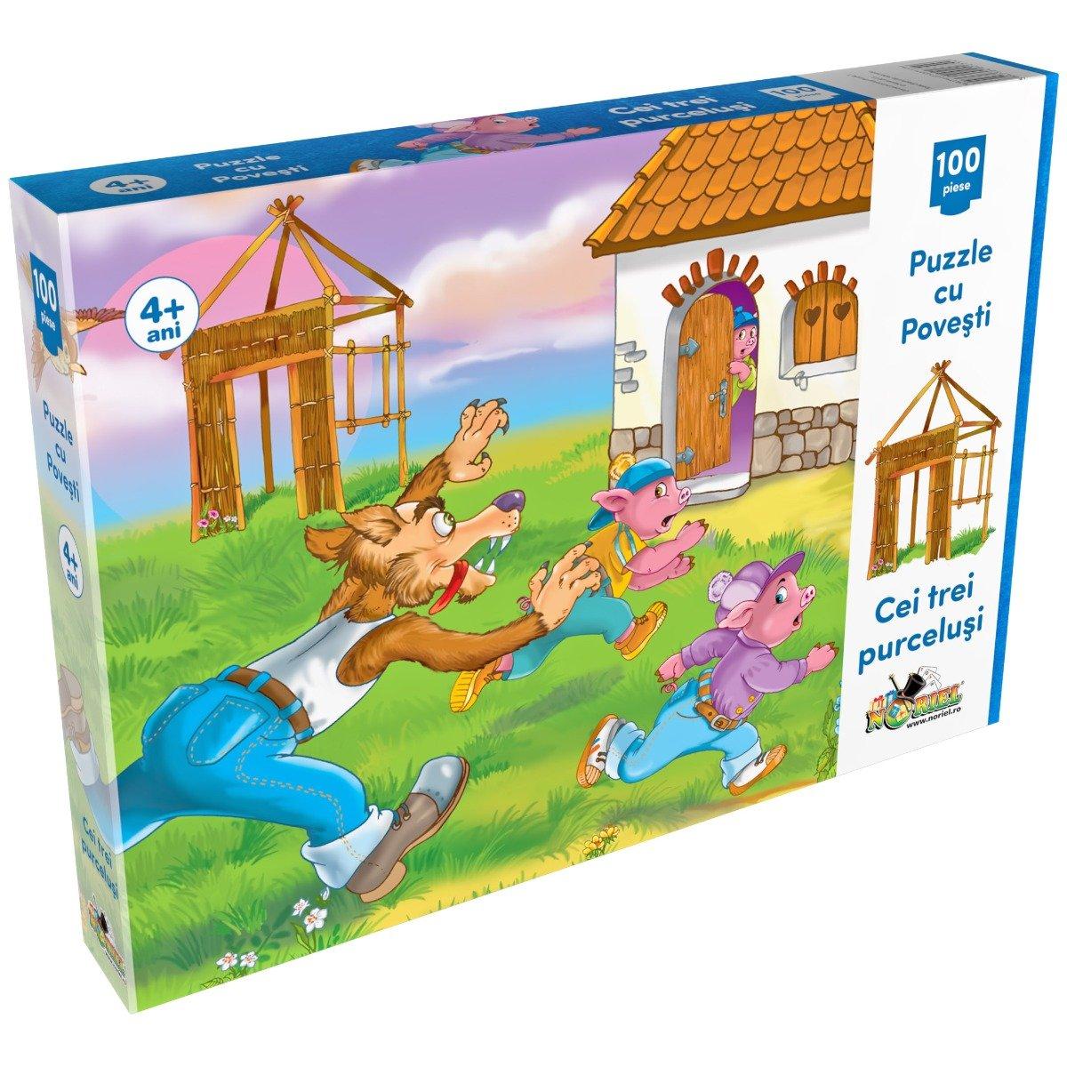 Puzzle Noriel cu povesti 100 de piese - Cei trei purcelusi