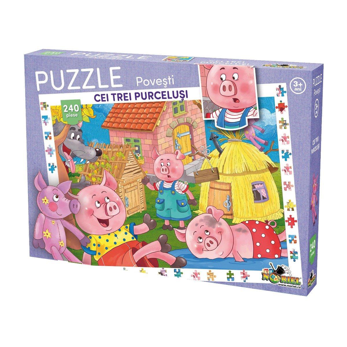 Puzzle Noriel cu povesti 240 de piese - Cei trei purcelusi