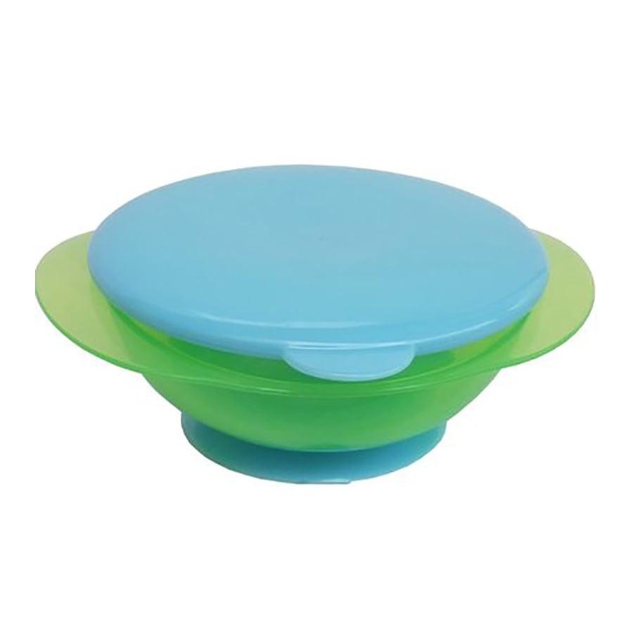 Bol pentru hranire cu ventuza si capac blue Primii Pasi, Verde imagine