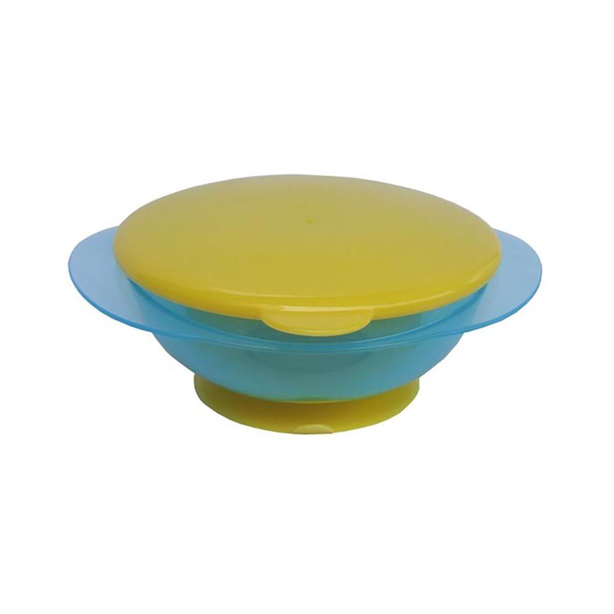 Bol pentru hranire cu ventuza si capac galben Primii Pasi, Albastru imagine