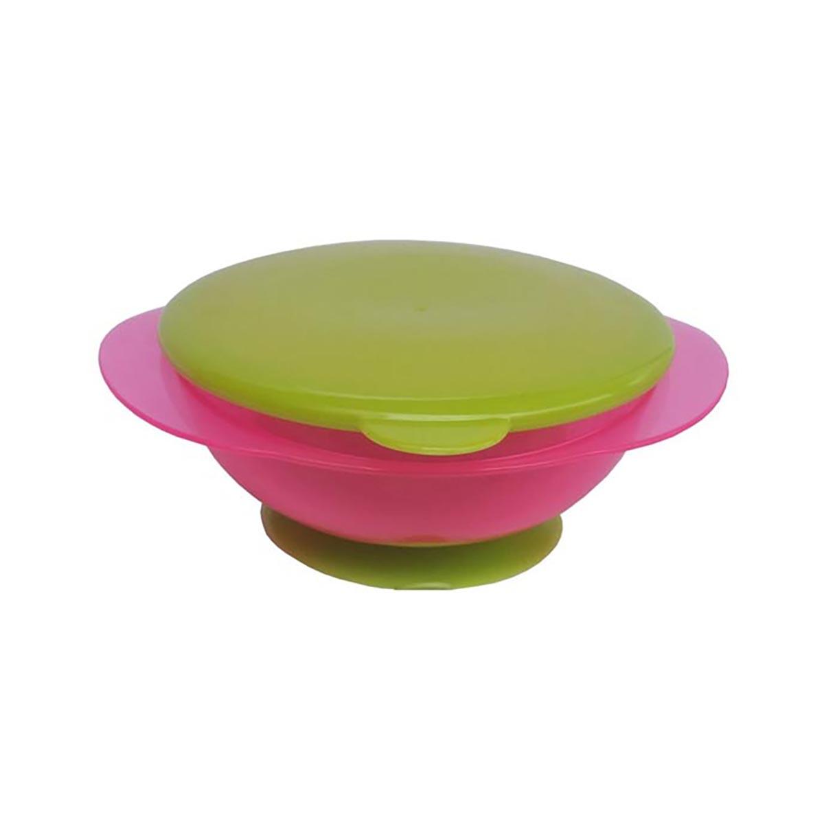 Bol pentru hranire cu ventuza si capac verde Primii Pasi, Roz imagine