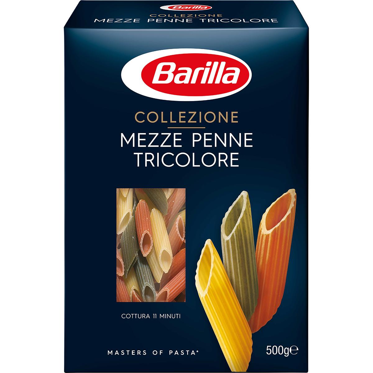 Paste Mezze Penne Tricolore Barilla, 500 g imagine