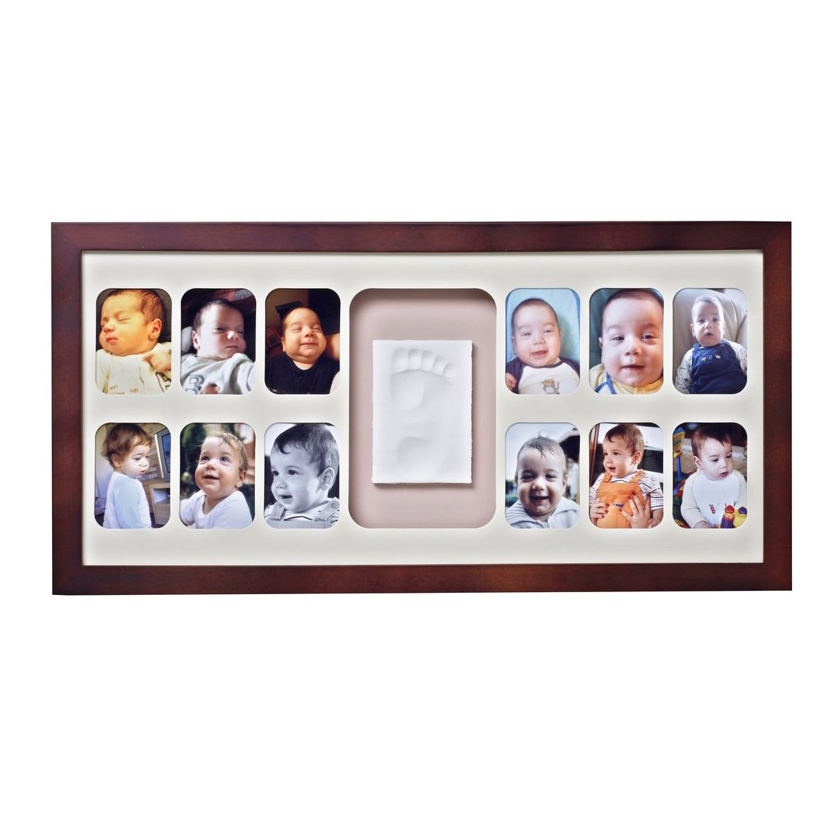 Rama de 12 poze si amprenta Baby Memory Prints, mahon