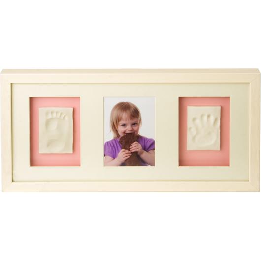 rama tripla de poza si amprenta baby memory, alb