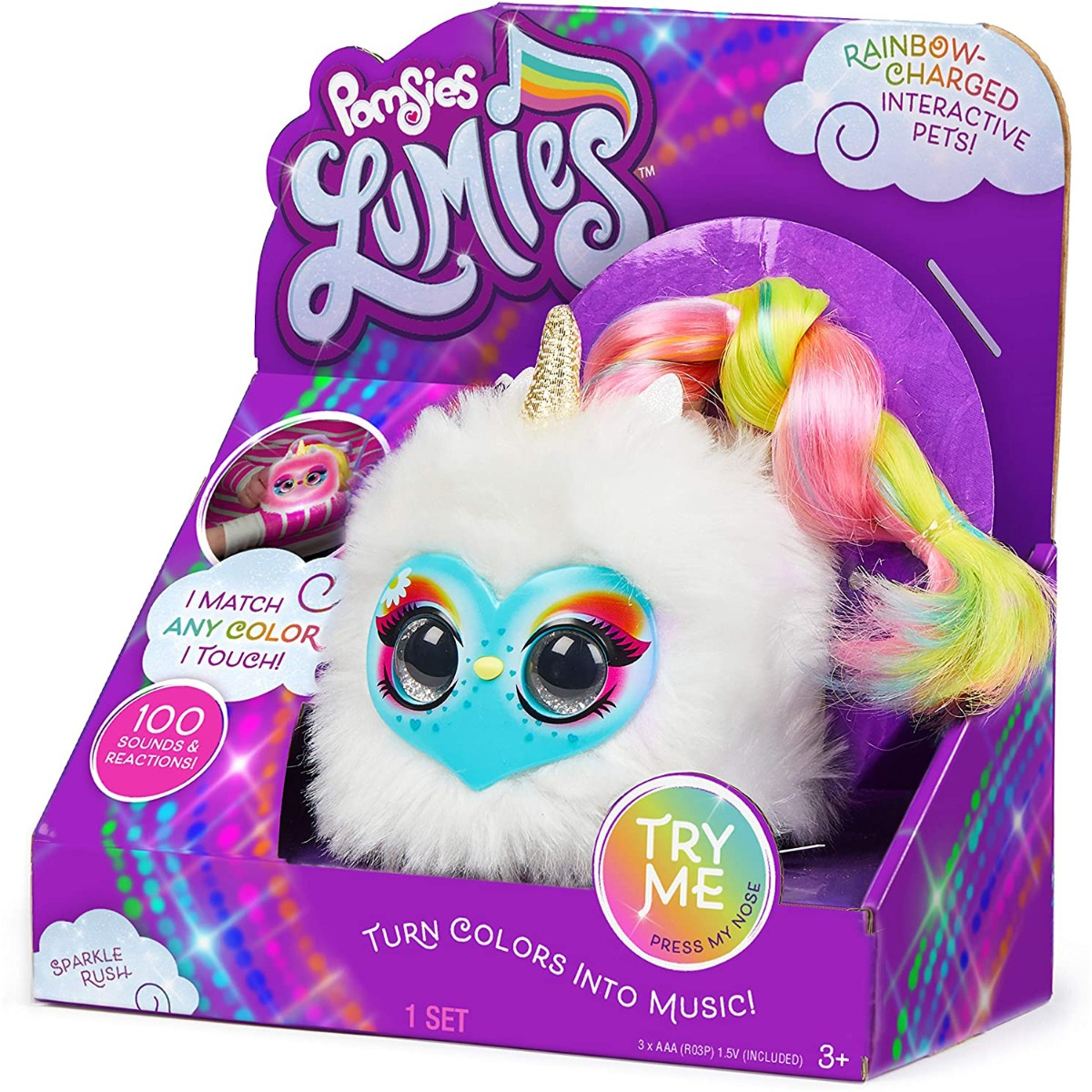 Jucarie de plus interactiva Pomsies Lumies, Sparkle Rush