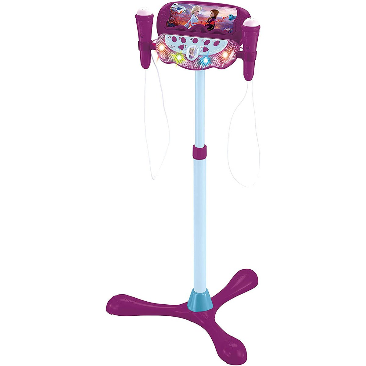 Set pentru karaoke, Stativ ajustabil cu doua microfoane, lumini sunete Lexibook Disney Frozen 2